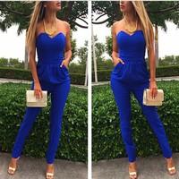 014 new Siamese blue leakage shoulder pocket chest sexy conjoined pants  bandage mini bodycon dress frozen dress elsa dress