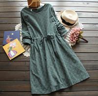 Back buttons  drawstring daisy flowers print long sleeved cotton dark green dress