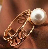 Titanium Steel 5.8cm Diameter freshwater pearl european charm vintage jewelry balance bijoux women bracelets BR508