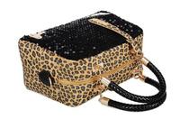 2014 women bag  pu leopard sequined shoulder bag diagonal package women messenger bags Free shipping B2