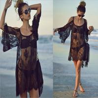 014 The new beach sexy Strapless eyelash lace dress smock Perspective bandage mini bodycon dress frozen dress elsa dress