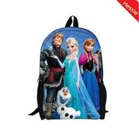 New Arrival 2014 Children Girls School Bags  Anna Elsa Printed Kids School Backpack Free Shipping