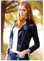 New Arrivel 2014 Women Faux Leather Coat Euro Style Motocycle Jacket for Lady Casual Slim Coat YS8684