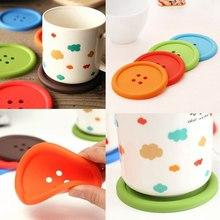 1Set/4PCS New Silicone Placemat Button Coasters Tea Cup Cushion Mug Cup Holder Mat Pad(China (Mainland))