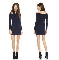 2014 Womens Ladies Dark Blue Pleated Long Sleeve Dress Solid Color Autumn Basic Dress