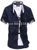 Freeshipping Hot Sale 2014 Men's Small mushroom short sleeved shirt in summer's new men's Casual Shirts1525