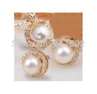 Women's lady Jewellery bridai 18k GP crystal shell pearl necklace earrings set