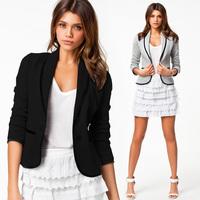2014 New Fashion Autumn Women Blazer Short Design Turn Down Collar Slim Blazer Grey Black Short Jacket Coat For Women