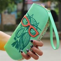 2014 New Arrivals Round Owl Clutch Checkbook Money Clip Change Bag Women Purse Handbag Wallet# L09383