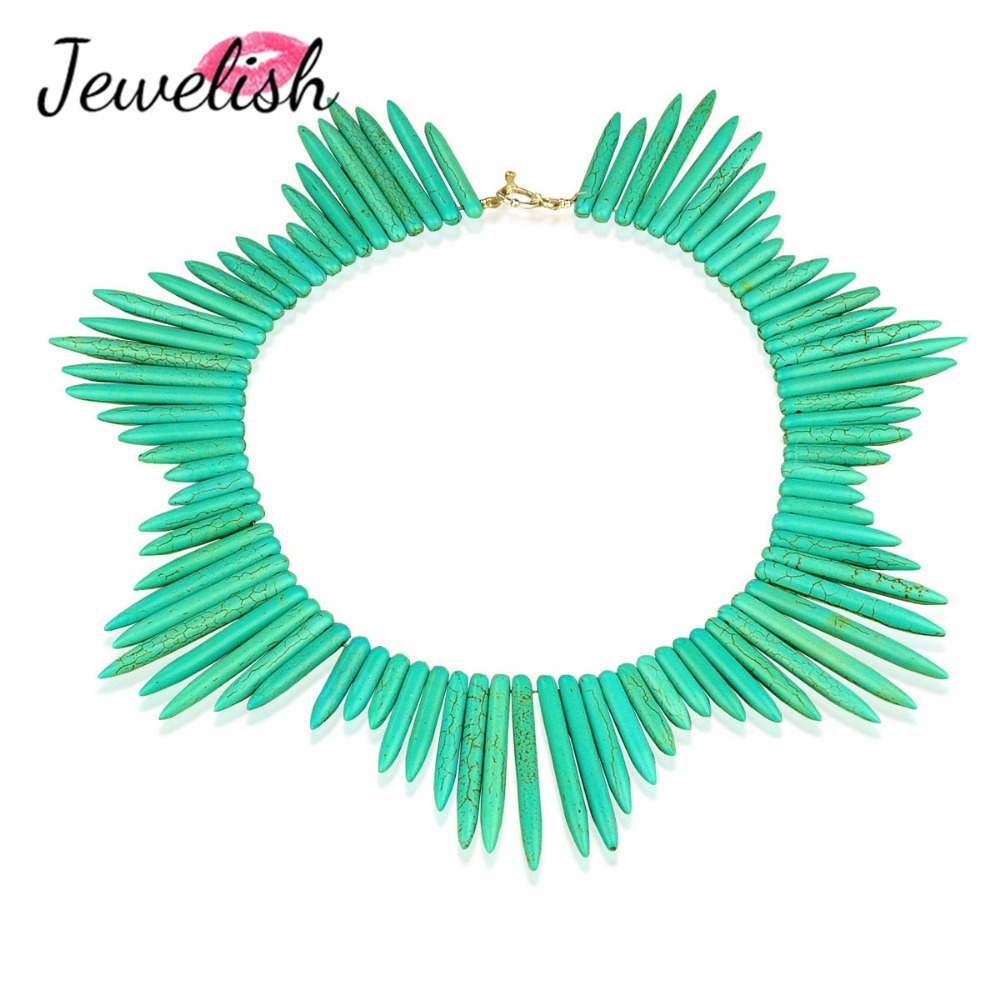 2014 HOT Howlite Turquoise Spike Choker Bib Short Stone Statement Jewelry Collar Women Jewellery Pendant Accessories Necklace(China (Mainland))