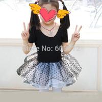 Retail-Freeshipping-Black Polka Dots Flower Girls Leotard Ballet Tutu Skate Dance Birthday Party Skirt Dress