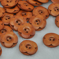30x New flower Light Coffee Wood Buttons 30mm Sewing Craft