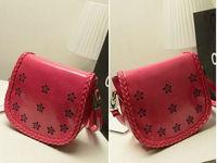 Korean version of the candy-colored semi-hollow handbag shoulder bag diagonal packet influx of women PU
