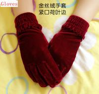 2014 autumn winter velvet gloves female new gloves, Free shipping ST001