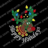 30pcs/Lot Free Shipping Santa Claus's Reindeer Rhinestone Hotfix Crystal Transfer Bling Christmas Costumes Design