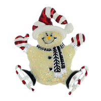 New Individual Fashion Style Colorful Enamel Skating Christmas Snowman Silver Plated Exqusite Brooch Pin Xmas Gift