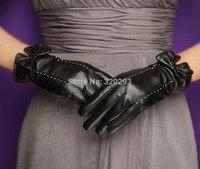 Fashion Women's 2 line bowknot Lambskin leather Touch screen Warm Gloves F275