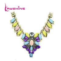 Bohemian Style Jewelry White Purple Color Created Rhinestone Choker Necklace Colares Bijuterias