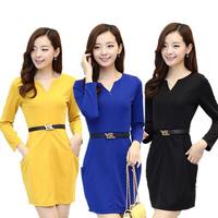 Size M-XXL 2014 Autumn Winter Elegant Office Lady Dress Long Sleeve V-Neck Pockets Women Pencil Dresses Women Work Wear 996707