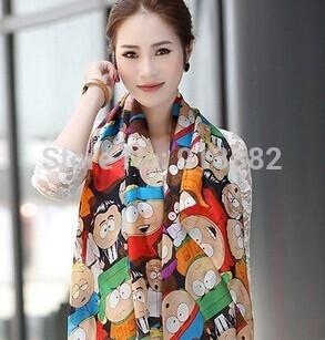 Chiffon Soft Scarf 160cm*70cm Wrap Shawl Stole Cartoon spell color fashion Women/Girls(China (Mainland))