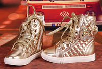 New 2014 Arrival ankle Boots  for  princess girls EU size 26-39  fashion  gold and pink children sneakers  autumn boots  #1215