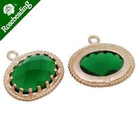 15x16.5mm matt gold plated framed glass,Faceted glass,emerald,connectors,gemstone bezel,Sold 5pcs/lot-C4163