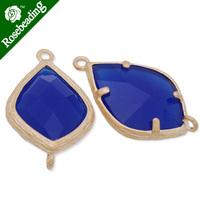 14x23mm matt gold plated framed glass,Faceted glass,royal blue,connectors,gemstone bezel,Sold 5pcs/lot-C4167