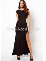 2014 new  Sexy Women lace Clubwear long dress ST1001 lady Patchwork Dress Slim Fit Party Clubwear S XL BLACK, RED PLUS SIZE 4XL