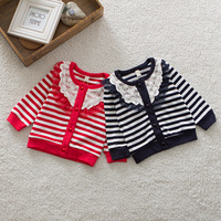 Newborn Toddler Girl Stripes Cardigan Baby Kid Lace Collar Knit Coat Jacket Tops Free Shipping
