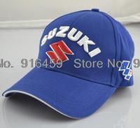 2014  Suzuki  Embroidery Limited Edition Sports cap Black Blue F1 racing car baseball cap Motorcycle cap Drop shipping