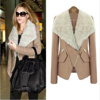 2014 new arrival women coat Fashion Long design Large fur collar Personality oblique zipper jacket Lady woollen coat 2 Colors