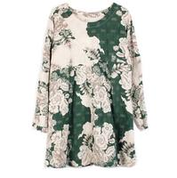 Vintage Floral Print Women's Dress 2014 Plus Size Female Long Sleeve Clothing Dresses Big Size Lady Elegant Clothes Blouse