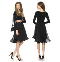 2014 Womens Autumn Long Sleeve Pleated Asymmetric Midi  Dress With Chiffon Stitching Black Plus Size