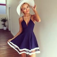 014 new women's V neck sling sheer splicing dress bandage dress mini bodycon dress frozen dress elsa dress