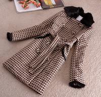 Parkas For Women Winter Coat 2014 Natural Rabbit Fur Collar Plaid Thick Long Slim Women's Wool Coats Female Overcoat Jacket