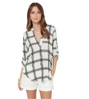 2014 Womens Autumn New Shirts Color Block Plaid Check Chiffon Blouses V-neck Three Quarter Sleeve Autumn Shirt 2014