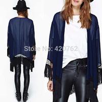 2014 Women Vintage Loose Tassels Batwing Sleeve Kimono Patchwork Blusas Femininas Cardigan Chiffon Clothing Plus Size S-XXL