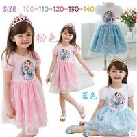 Free shipping-Frozen Girls Kids Short Sleeve Summer Princess Dress 1pc/lot