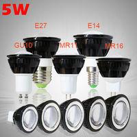 10PCS 5W High power led Spotlight COB GU10 E27 E14 MR11 MR16 dimmable Spotlight warm/cool white bulb lamp lamps