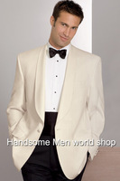 Fashion  2014  Elegant Men Suits ivory Dinner Jacket/prom suits/wedding suits for groom wear(jacket+trousers+bowtie+girdle)460