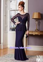 Free Shipping Fashion Custom Made 2014 A-Line Sweetheart Long Sleeves Purple Chiffon Floor Length Draped Mother Of Bride Dresses