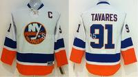 Discount Kids New York Islanders Jerseys #91 John Tavares White Ice Hockey Jerseys Mix Orders Embroidery Logos