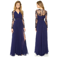 2014 Womens Ladies Elegant women maxi floor party dress in chiffon with embroidery perspective sleeve  free shipping