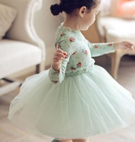 2014 new girls princess dress flower lace long sleeves dress sweet lovely cute Single Tulle Lace Dress 2 colors size 100-140