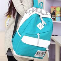 Free shipping Korean Institute of wind tide canvas shoulder bag men and women high school students travel bag backpack computer
