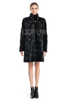2014 Women's Luxury Natural Mink Fur Coat Jacket  Female Fur Outerwear Long Garment  Bottom Detachable Sleeve QD70761
