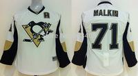 Discount Kids Pittsburgh Penguins Jerseys #71 EVGENI MALKIN White Ice Hockey Jerseys Mix Orders Embroidery