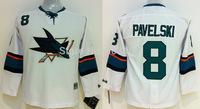 Discount Kids San Jose Sharks Jerseys #8 JOE PAVELSKI White Ice Ice Hockey Jerseys Embroidery Logos Accept Mix Orders
