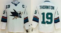 Discount Kids San Jose Sharks Jerseys #19 JOE THORNTON White Ice Ice Hockey Jerseys Mix Orders Embroidery