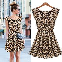 Hot Sale S-XXL Free Shipping Sexy Leopard Print Casual Mini Sun Dress Sleeveless Summer 2014 European and American Apparel A1019